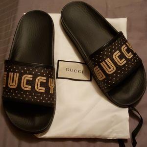 Gucci black guccy sandals slides 36 New!